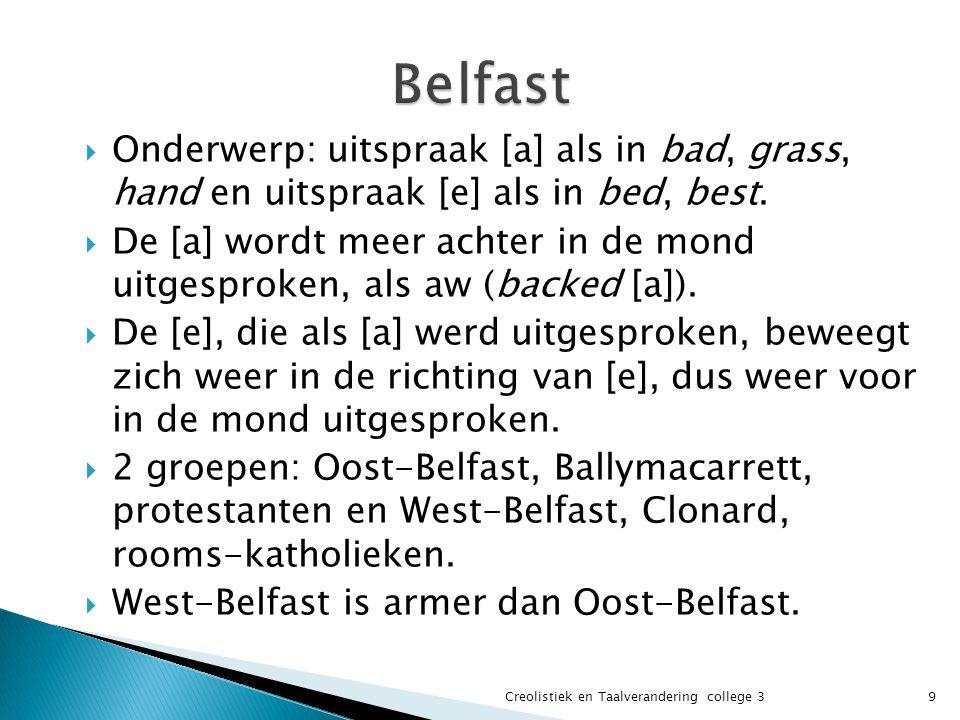 Belfast Onderwerp: uitspraak [a] als in bad, grass, hand en uitspraak [e] als in bed, best.